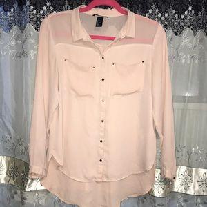 Blush Pink Button Down Blouse